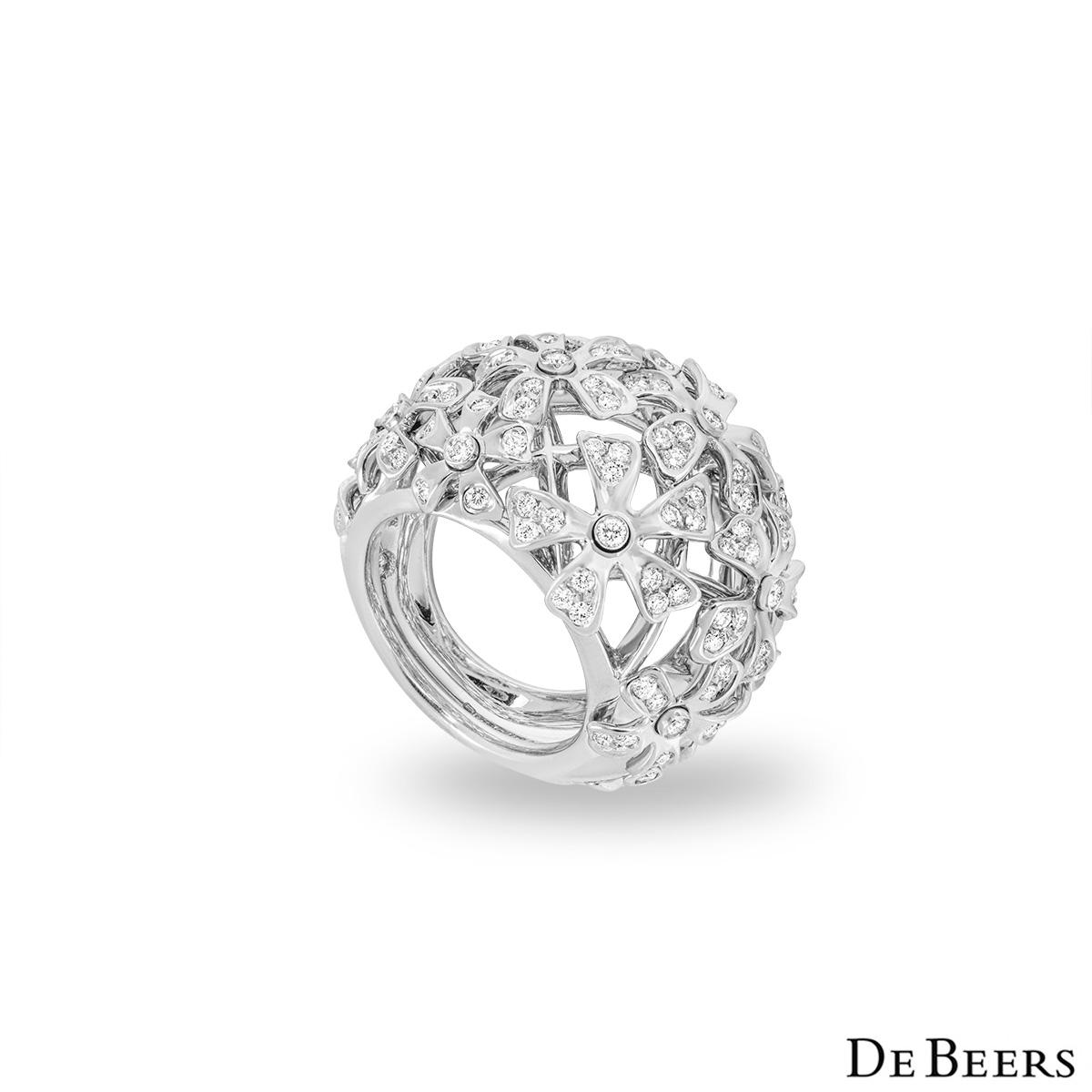 De Beers White Gold Diamond Flower Bombe Ring